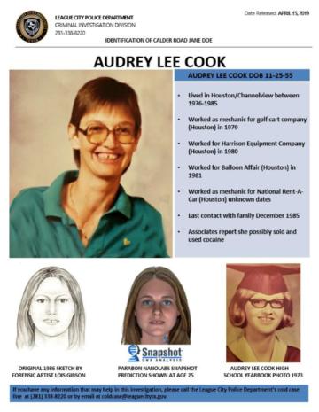 Through genetic genealogy, Jane Doe was identified as Audrey Lee Cook.