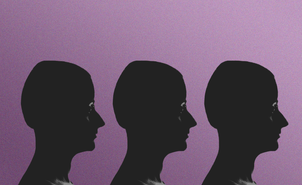 silhouette against a purple background