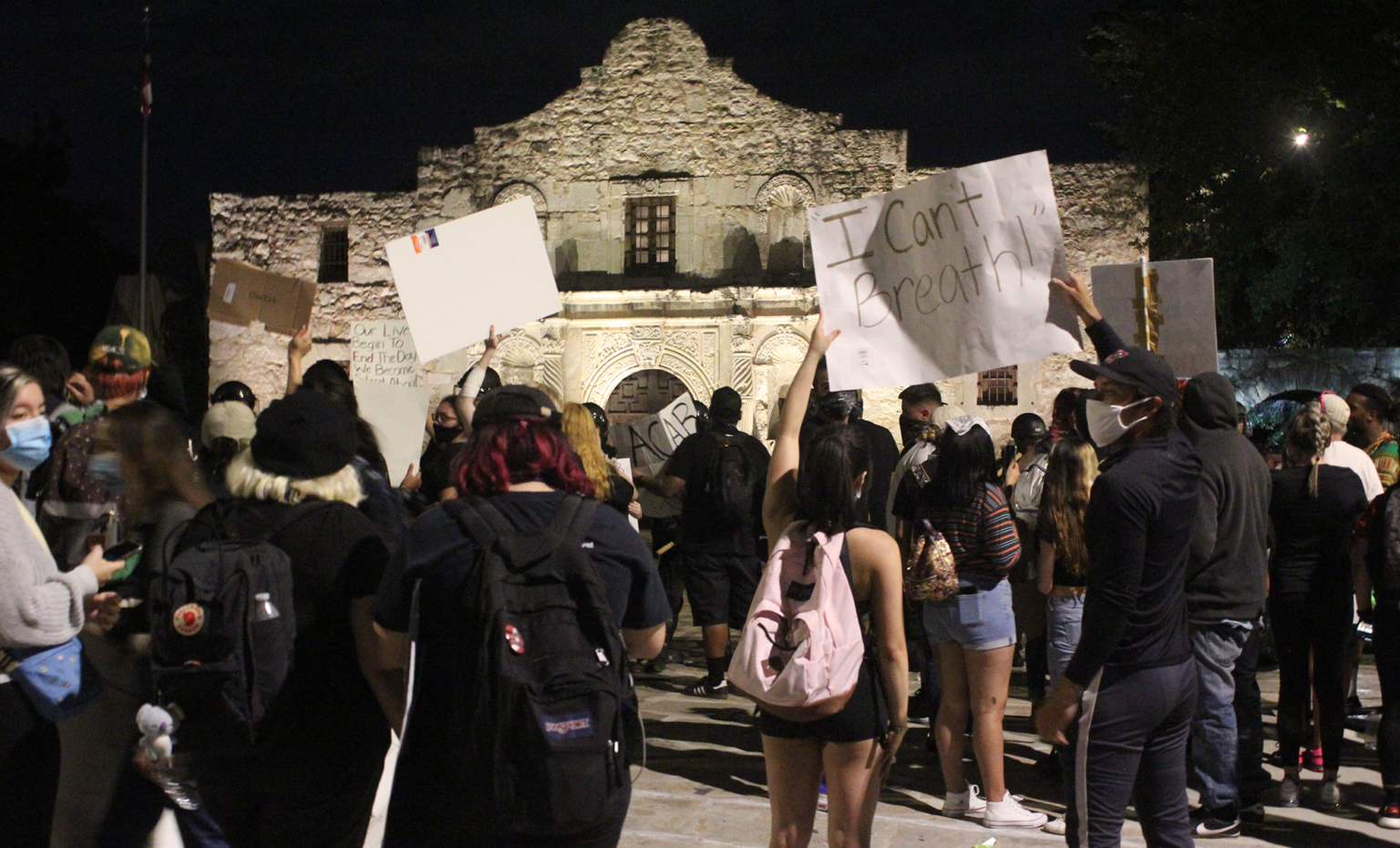 Protesters outside the Alamo in San Antonio in early June 2020.