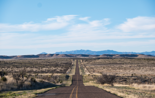 The road to Rachel Mellard's ranch south of Marfa, where she had a home birth last spring.