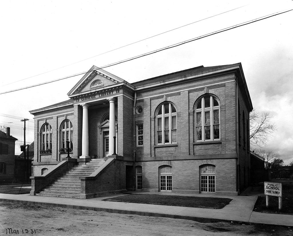 Carnegie Colored Library (1912, W. Sidney Pittman, demolished 1962), 1112 Frederic at Robin (West Polk).