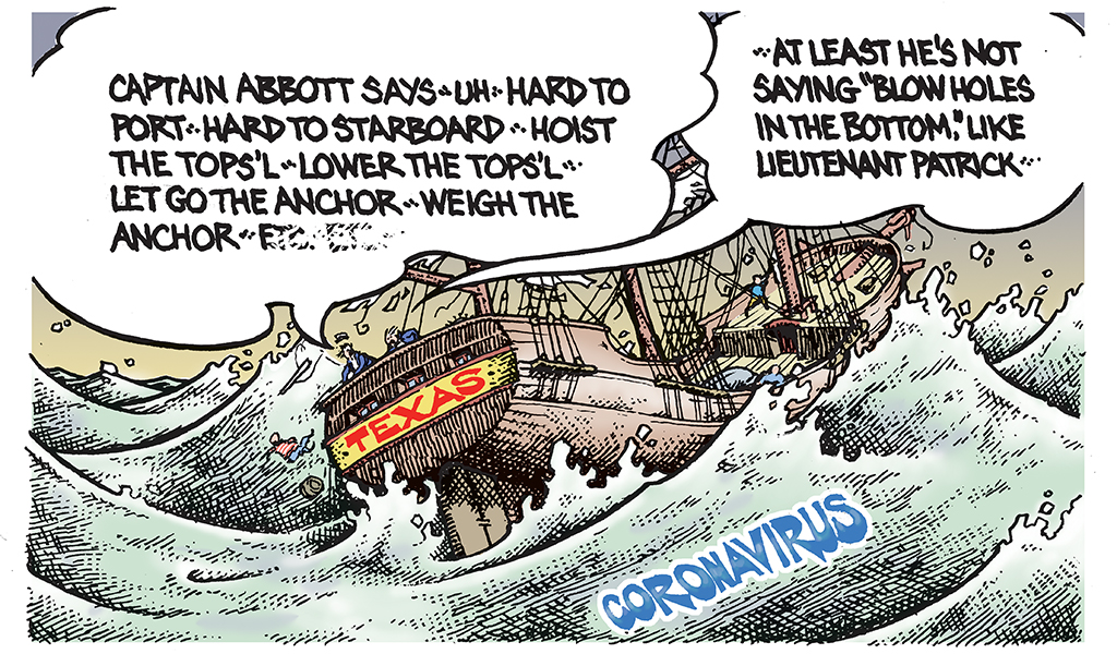 """Greg Abbott captains a ship called Texas. The crew follows his numerous orders that arrive in quick succession; one crew member says, """"At least he's not saying 'blow holes in the bottom' like Lieutenant Patrick."""""""