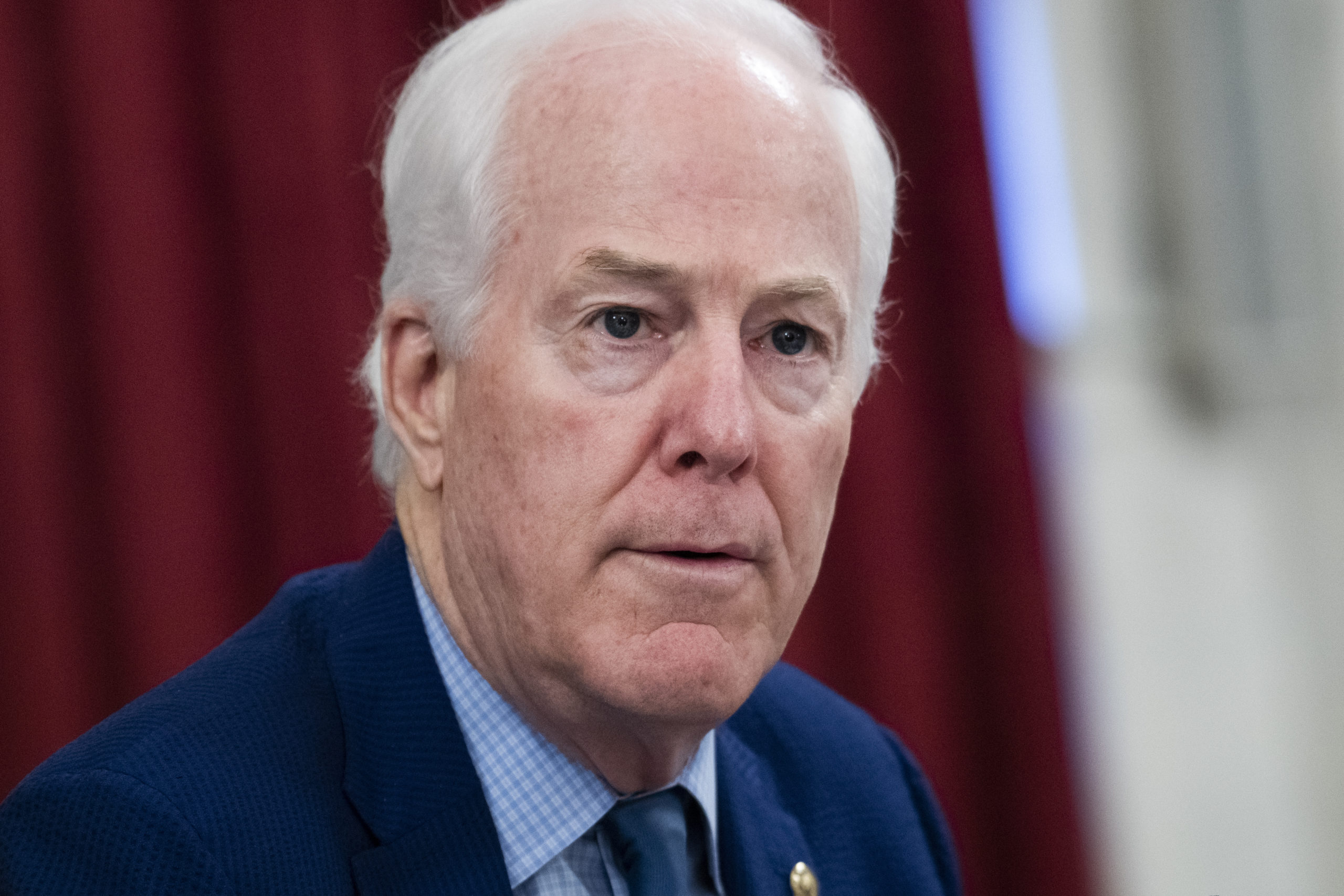 UNITED STATES - JUNE 24: Sen. John Cornyn, R-Texas, speaks during the Senate Select Intelligence Committee confirmation hearing for Peter Michael Thomson, nominee to be inspector general of the Central Intelligence Agency, in Russell Building on Wednesday, June 24, 2020. (Photo By Tom Williams/CQ Roll Call via AP Images)