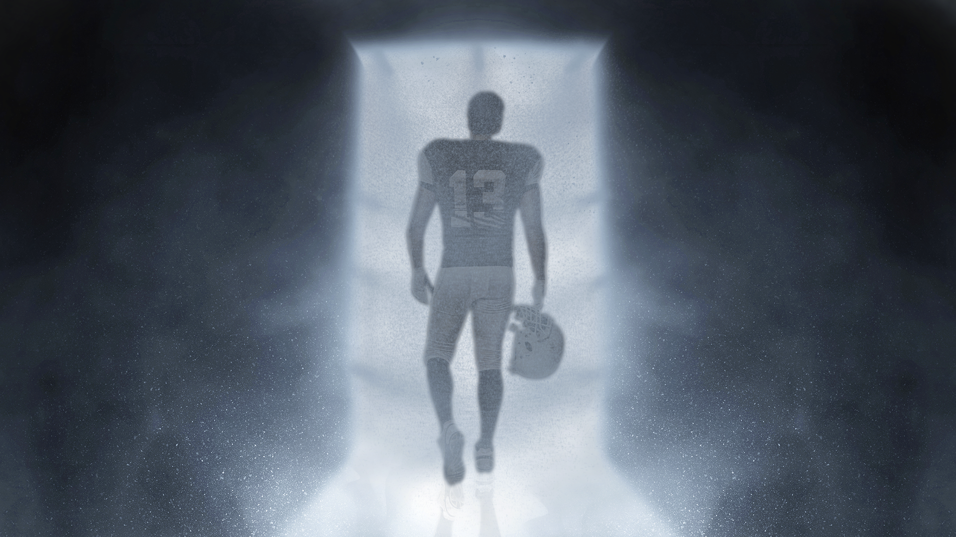 Illustration: A football player carrying a helmet walks through a ghostly, white-lit door.