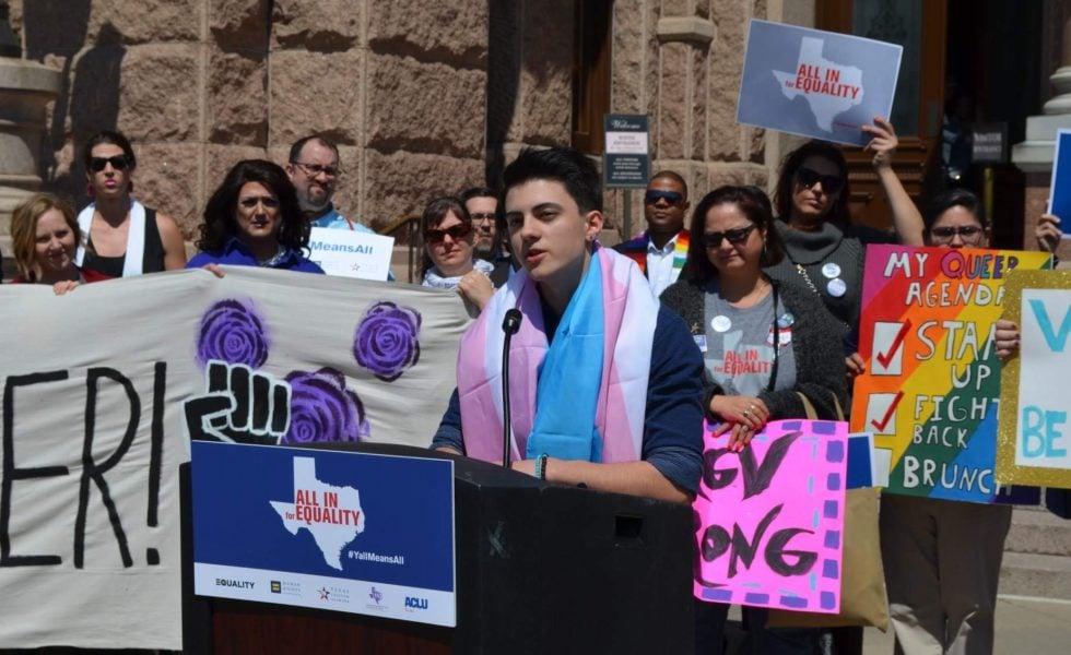 Landon Richie testifying against anti-trans legislation at the Capitol in 2019.