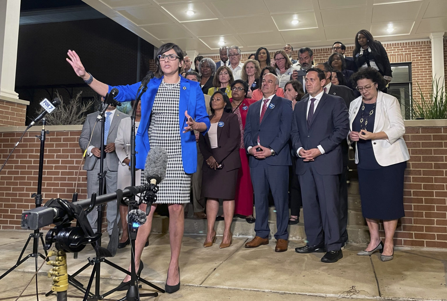 Texas state Representative Jessica Gonzales speaks during a news conference in Austin on May 31, 2021, after House Democrats pulled off a dramatic, last-ditch walkout and blocked one of the most restrictive voting bills in the U.S. from passing before a midnight deadline.